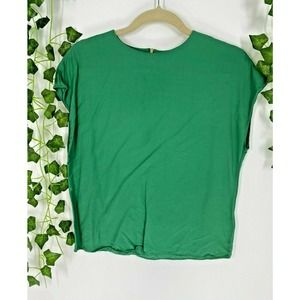 & Other Stories Green Blouse Cap Sleeve Top